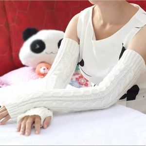 Long Fingerless Knitted Arm Hand Warmers